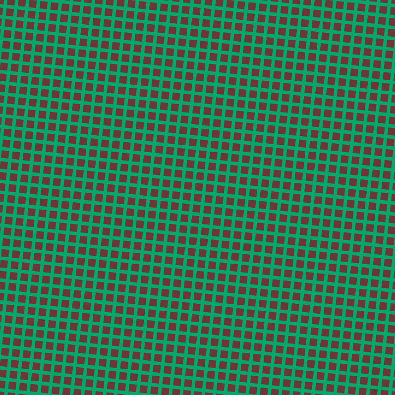 84/174 degree angle diagonal checkered chequered lines, 7 pixel lines width, 15 pixel square size, Jade and Sanguine Brown plaid checkered seamless tileable