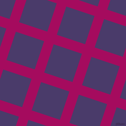 72/162 degree angle diagonal checkered chequered lines, 40 pixel lines width, 119 pixel square size, Jazzberry Jam and Meteorite plaid checkered seamless tileable