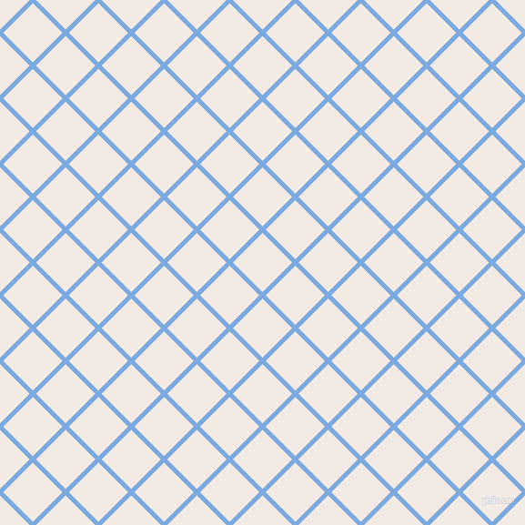 45/135 degree angle diagonal checkered chequered lines, 5 pixel line width, 46 pixel square size, Jordy Blue and Sauvignon plaid checkered seamless tileable