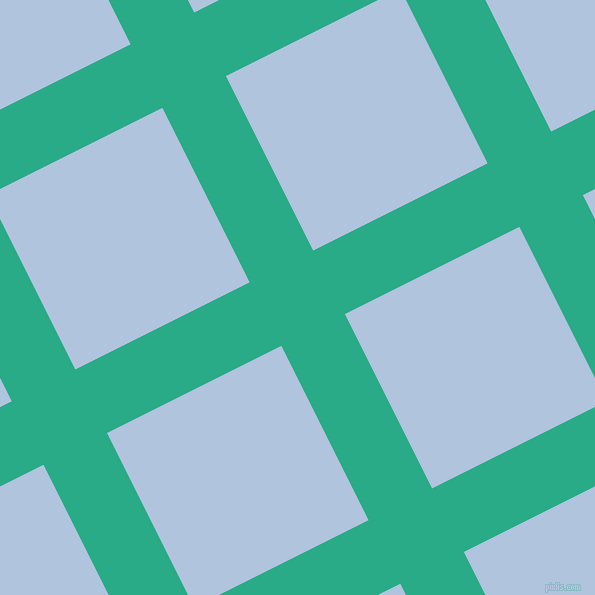27/117 degree angle diagonal checkered chequered lines, 71 pixel lines width, 195 pixel square size, Jungle Green and Light Steel Blue plaid checkered seamless tileable