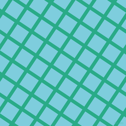 56/146 degree angle diagonal checkered chequered lines, 14 pixel line width, 56 pixel square size, Jungle Green and Spray plaid checkered seamless tileable