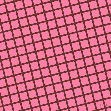 14/104 degree angle diagonal checkered chequered lines, 7 pixel lines width, 31 pixel square size, Kenyan Copper and Tickle Me Pink plaid checkered seamless tileable