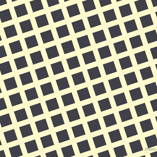 18/108 degree angle diagonal checkered chequered lines, 17 pixel line width, 36 pixel square size, Lemon Chiffon and Payne