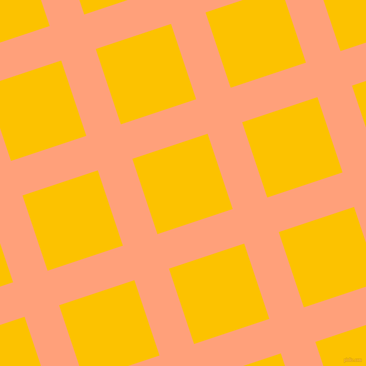 18/108 degree angle diagonal checkered chequered lines, 72 pixel lines width, 157 pixel square size, Light Salmon and Golden Poppy plaid checkered seamless tileable