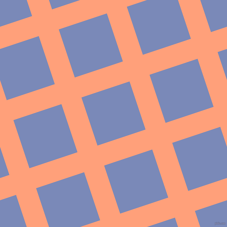 18/108 degree angle diagonal checkered chequered lines, 70 pixel lines width, 168 pixel square size, Light Salmon and Wild Blue Yonder plaid checkered seamless tileable