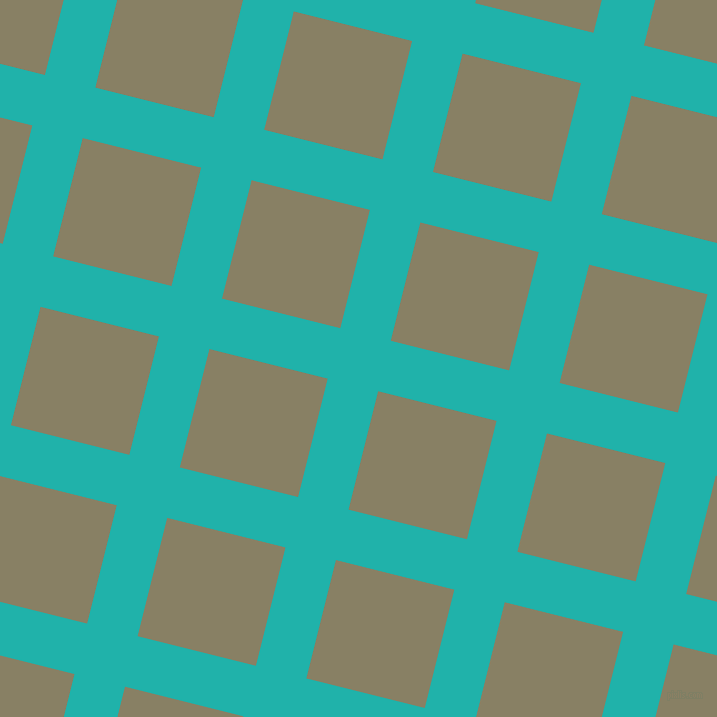 76/166 degree angle diagonal checkered chequered lines, 52 pixel lines width, 122 pixel square size, Light Sea Green and Olive Haze plaid checkered seamless tileable