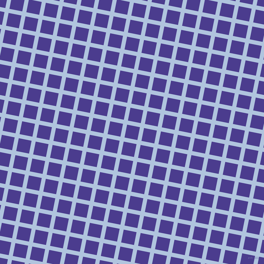 79/169 degree angle diagonal checkered chequered lines, 14 pixel lines width, 44 pixel square size, Light Steel Blue and Blue Gem plaid checkered seamless tileable