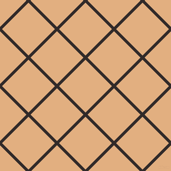 45/135 degree angle diagonal checkered chequered lines, 10 pixel lines width, 127 pixel square size, Livid Brown and Manhattan plaid checkered seamless tileable