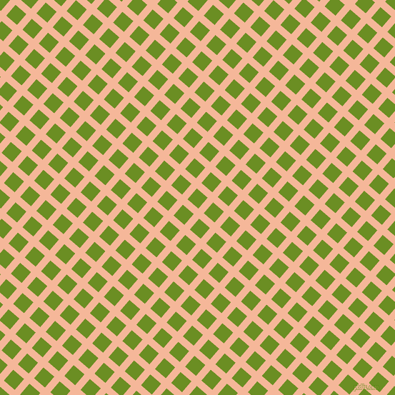 49/139 degree angle diagonal checkered chequered lines, 10 pixel lines width, 20 pixel square size, Mandys Pink and Olive Drab plaid checkered seamless tileable