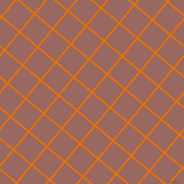 50/140 degree angle diagonal checkered chequered lines, 6 pixel lines width, 76 pixel square size, Mango Tango and Dark Chestnut plaid checkered seamless tileable