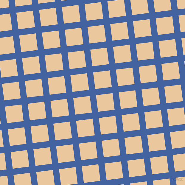 7/97 degree angle diagonal checkered chequered lines, 21 pixel lines width, 56 pixel square size, Mariner and New Tan plaid checkered seamless tileable