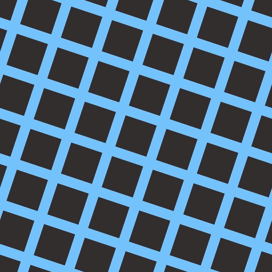 72/162 degree angle diagonal checkered chequered lines, 35 pixel line width, 112 pixel square size, Maya Blue and Night Rider plaid checkered seamless tileable