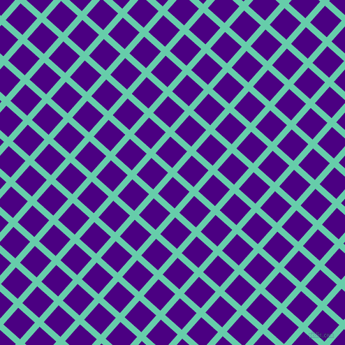 48/138 degree angle diagonal checkered chequered lines, 9 pixel line width, 32 pixel square size, Medium Aquamarine and Indigo plaid checkered seamless tileable