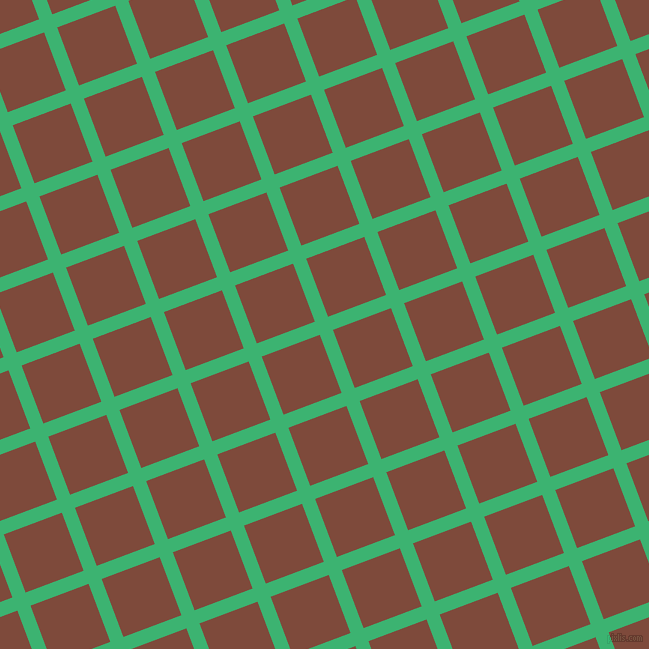 21/111 degree angle diagonal checkered chequered lines, 14 pixel lines width, 62 pixel square size, Medium Sea Green and Nutmeg plaid checkered seamless tileable
