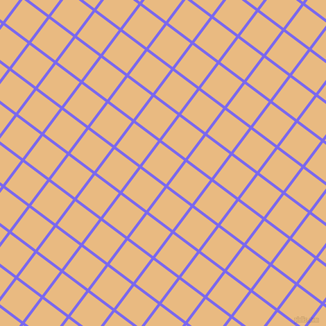 53/143 degree angle diagonal checkered chequered lines, 4 pixel lines width, 43 pixel square size, Medium Slate Blue and Corvette plaid checkered seamless tileable