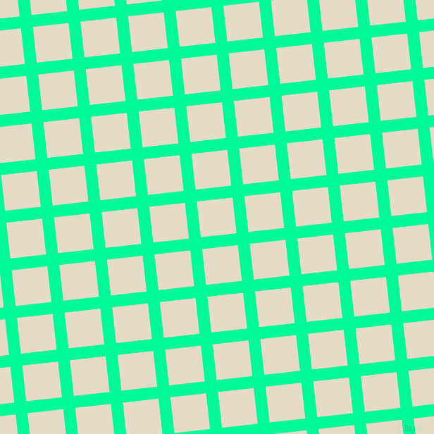 6/96 degree angle diagonal checkered chequered lines, 17 pixel line width, 51 pixel square size, Medium Spring Green and Half Spanish White plaid checkered seamless tileable