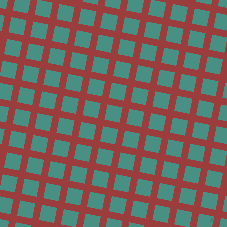 79/169 degree angle diagonal checkered chequered lines, 23 pixel line width, 52 pixel square size, Mexican Red and Lochinvar plaid checkered seamless tileable
