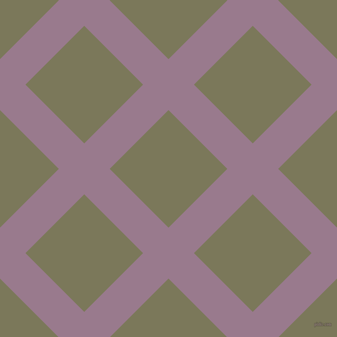 45/135 degree angle diagonal checkered chequered lines, 74 pixel line width, 171 pixel square size, Mountbatten Pink and Kokoda plaid checkered seamless tileable