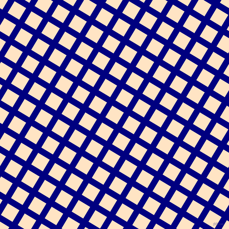 59/149 degree angle diagonal checkered chequered lines, 21 pixel line width, 46 pixel square size, Navy and Bisque plaid checkered seamless tileable