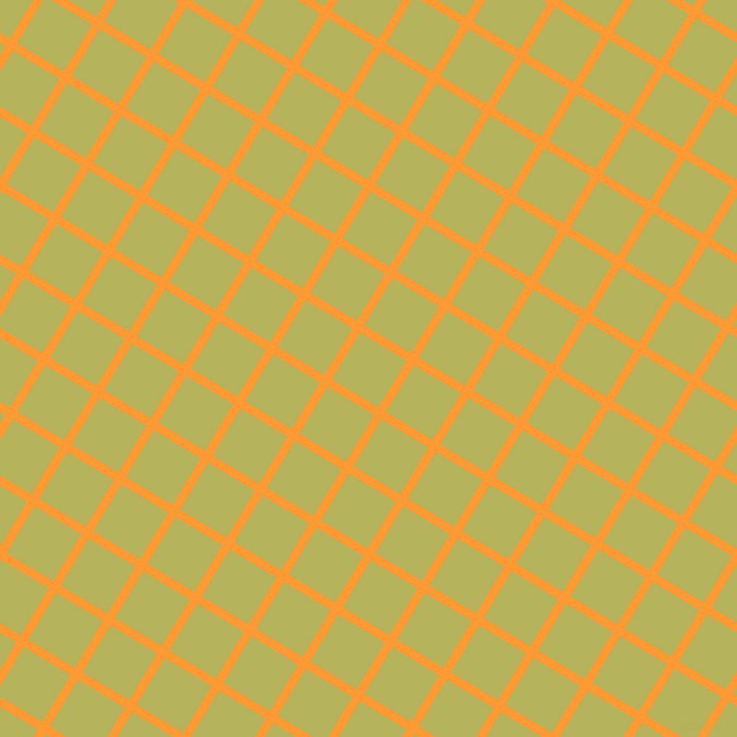 59/149 degree angle diagonal checkered chequered lines, 8 pixel line width, 50 pixel square size, Neon Carrot and Olive Green plaid checkered seamless tileable