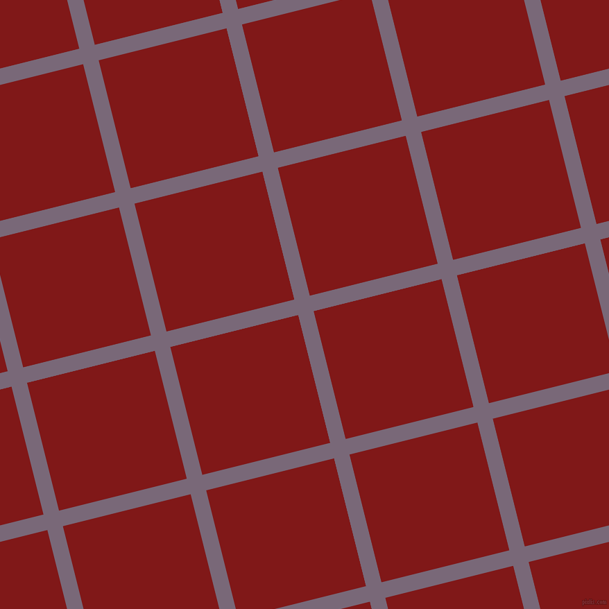 14/104 degree angle diagonal checkered chequered lines, 23 pixel lines width, 190 pixel square size, Old Lavender and Falu Red plaid checkered seamless tileable