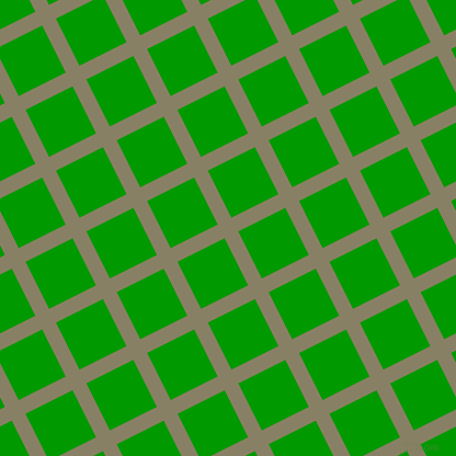 27/117 degree angle diagonal checkered chequered lines, 14 pixel line width, 48 pixel square size, Olive Haze and Islamic Green plaid checkered seamless tileable