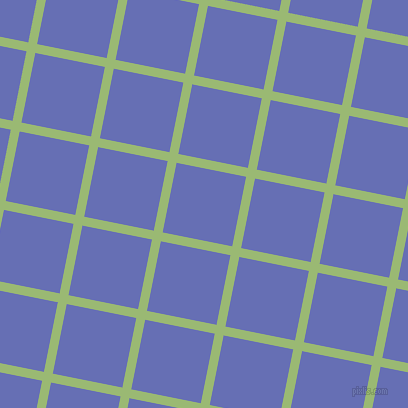 79/169 degree angle diagonal checkered chequered lines, 9 pixel lines width, 71 pixel square size, Olivine and Chetwode Blue plaid checkered seamless tileable