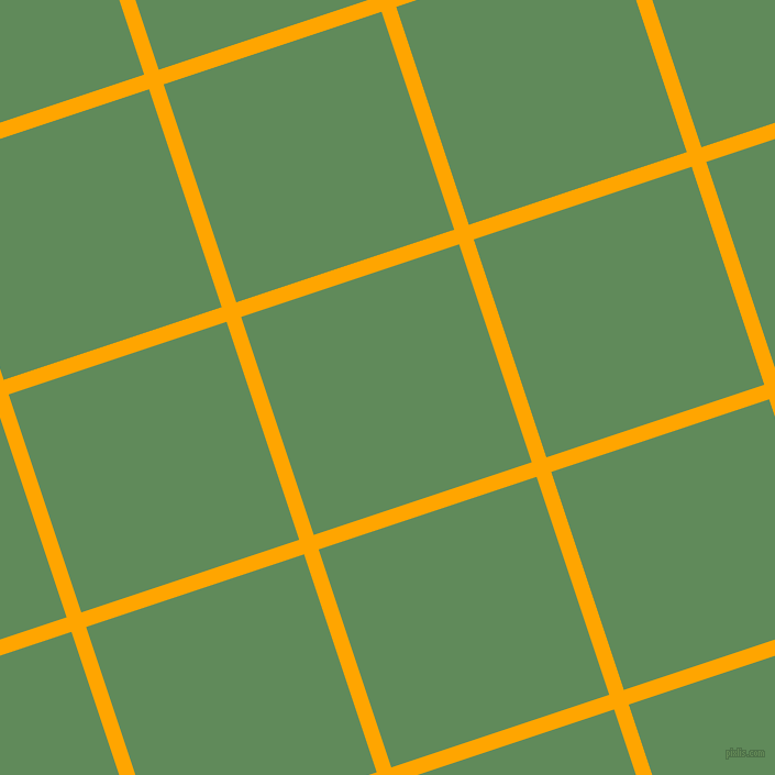 18/108 degree angle diagonal checkered chequered lines, 14 pixel line width, 209 pixel square size, Orange and Hippie Green plaid checkered seamless tileable
