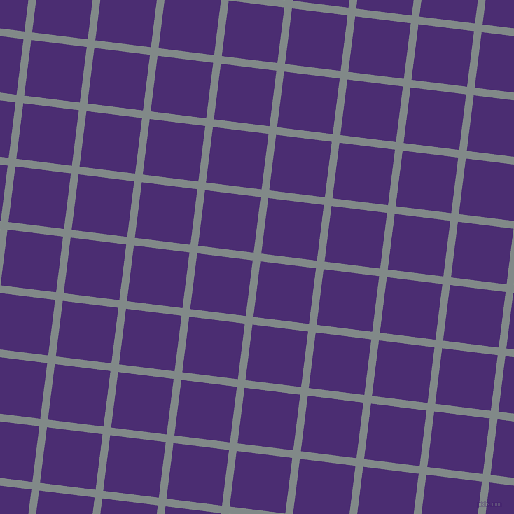 83/173 degree angle diagonal checkered chequered lines, 11 pixel line width, 80 pixel square size, Oslo Grey and Blue Diamond plaid checkered seamless tileable