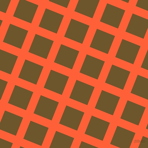 68/158 degree angle diagonal checkered chequered lines, 26 pixel line width, 63 pixel square size, Outrageous Orange and Horses Neck plaid checkered seamless tileable