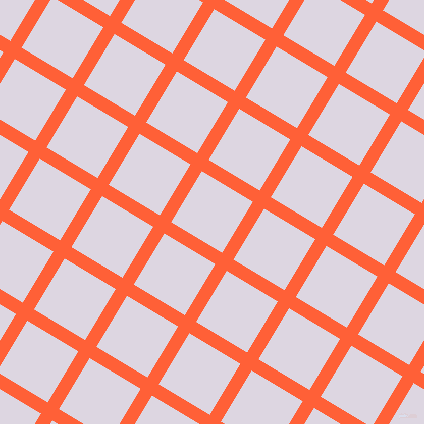 59/149 degree angle diagonal checkered chequered lines, 26 pixel lines width, 118 pixel square size, Outrageous Orange and Titan White plaid checkered seamless tileable