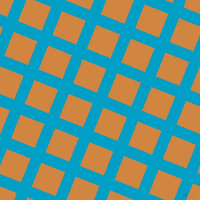 68/158 degree angle diagonal checkered chequered lines, 39 pixel lines width, 87 pixel square size, Pacific Blue and Peru plaid checkered seamless tileable