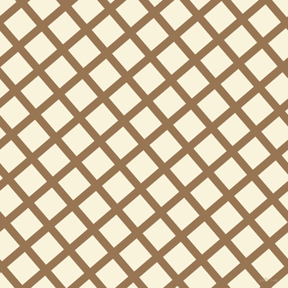 41/131 degree angle diagonal checkered chequered lines, 15 pixel line width, 46 pixel square size, Pale Brown and Off Yellow plaid checkered seamless tileable