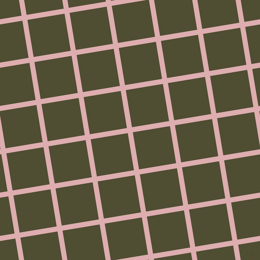 9/99 degree angle diagonal checkered chequered lines, 17 pixel line width, 125 pixel square size, Pale Chestnut and Camouflage plaid checkered seamless tileable