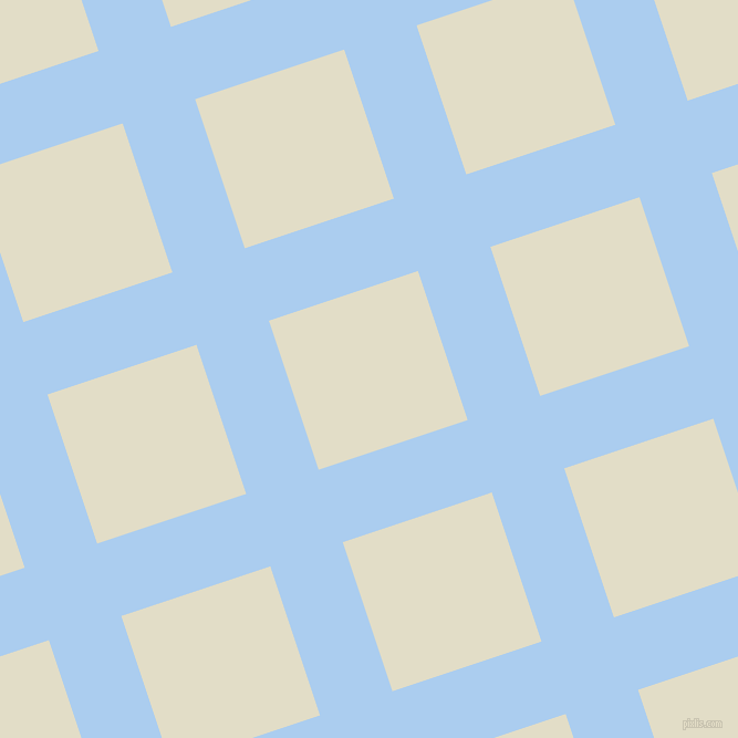 18/108 degree angle diagonal checkered chequered lines, 69 pixel line width, 142 pixel square size, Pale Cornflower Blue and Travertine plaid checkered seamless tileable