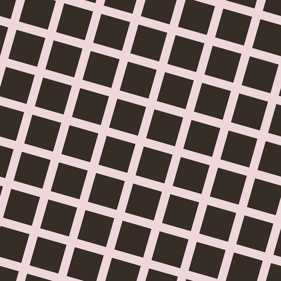 74/164 degree angle diagonal checkered chequered lines, 28 pixel line width, 97 pixel square size, Pale Rose and Coffee Bean plaid checkered seamless tileable