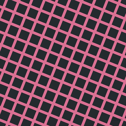 68/158 degree angle diagonal checkered chequered lines, 9 pixel lines width, 30 pixel square size, Pale Violet Red and Cinder plaid checkered seamless tileable