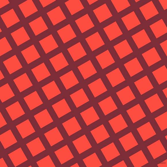 30/120 degree angle diagonal checkered chequered lines, 22 pixel lines width, 50 pixel square size, Paprika and Sunset Orange plaid checkered seamless tileable