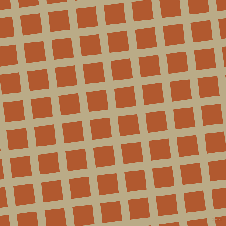 7/97 degree angle diagonal checkered chequered lines, 27 pixel lines width, 66 pixel square size, Pavlova and Fiery Orange plaid checkered seamless tileable