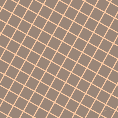 61/151 degree angle diagonal checkered chequered lines, 4 pixel lines width, 36 pixel square size, Peach and Almond Frost plaid checkered seamless tileable