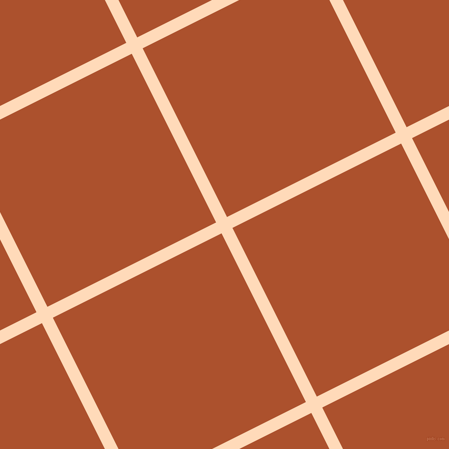 27/117 degree angle diagonal checkered chequered lines, 24 pixel line width, 370 pixel square size, Peach Puff and Rose Of Sharon plaid checkered seamless tileable