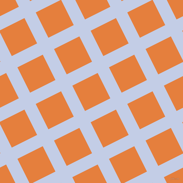 27/117 degree angle diagonal checkered chequered lines, 53 pixel line width, 119 pixel square size, Periwinkle and Pizazz plaid checkered seamless tileable