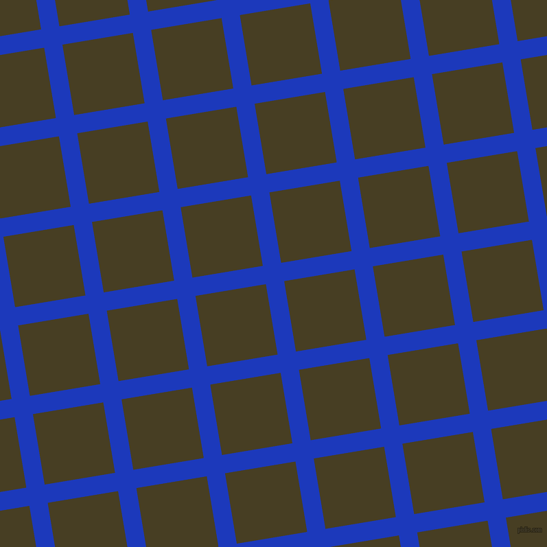 9/99 degree angle diagonal checkered chequered lines, 27 pixel lines width, 104 pixel square size, Persian Blue and Madras plaid checkered seamless tileable