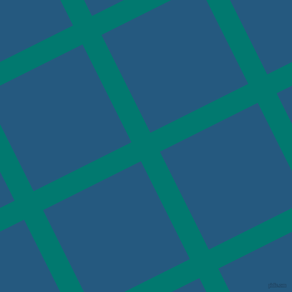 27/117 degree angle diagonal checkered chequered lines, 42 pixel line width, 217 pixel square size, Pine Green and Bahama Blue plaid checkered seamless tileable