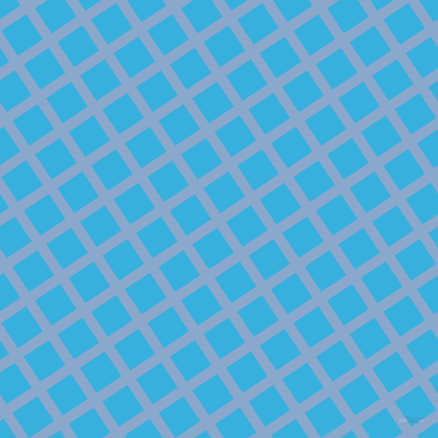 34/124 degree angle diagonal checkered chequered lines, 15 pixel line width, 43 pixel square size, Polo Blue and Summer Sky plaid checkered seamless tileable