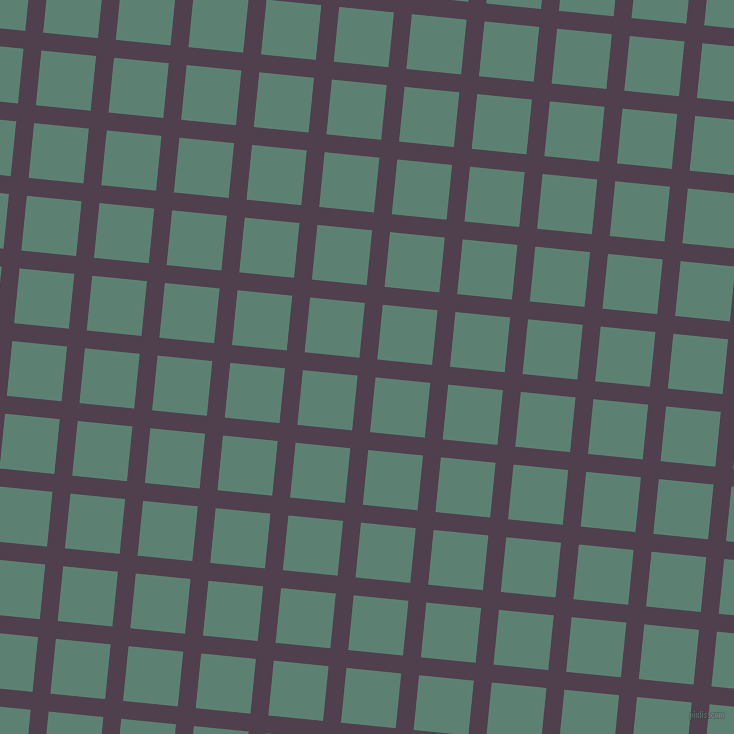 84/174 degree angle diagonal checkered chequered lines, 18 pixel line width, 55 pixel square size, Purple Taupe and Cutty Sark plaid checkered seamless tileable