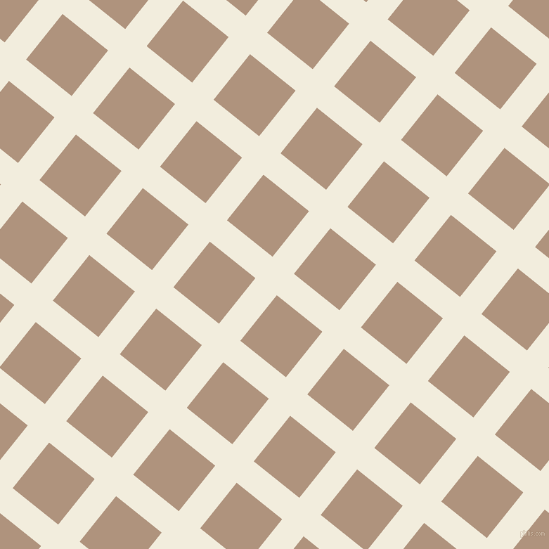 51/141 degree angle diagonal checkered chequered lines, 39 pixel line width, 83 pixel square size, Quarter Pearl Lusta and Sandrift plaid checkered seamless tileable