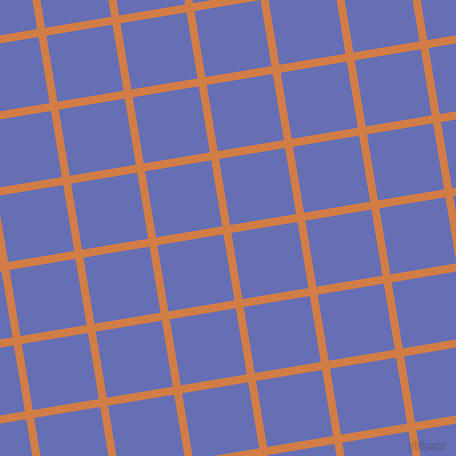 9/99 degree angle diagonal checkered chequered lines, 8 pixel lines width, 67 pixel square size, Raw Sienna and Chetwode Blue plaid checkered seamless tileable