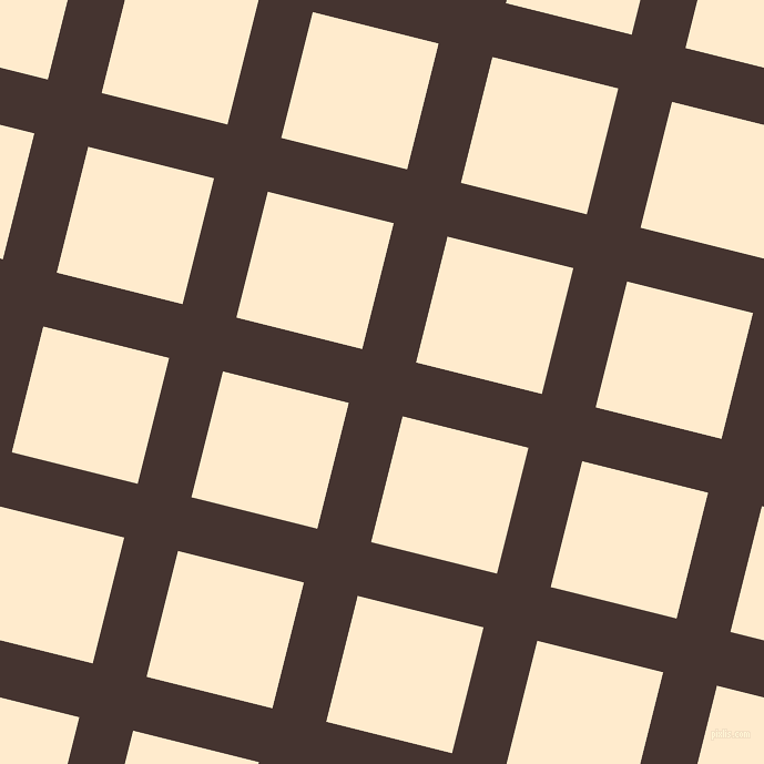 76/166 degree angle diagonal checkered chequered lines, 50 pixel line width, 117 pixel square size, Rebel and Blanched Almond plaid checkered seamless tileable