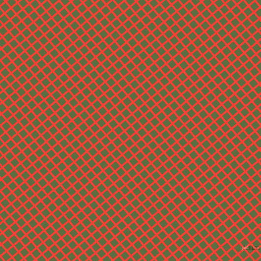 40/130 degree angle diagonal checkered chequered lines, 4 pixel lines width, 13 pixel square size, Red Orange and Chalet Green plaid checkered seamless tileable